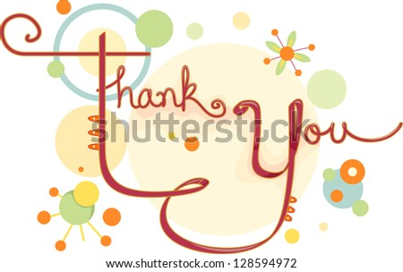 Illustration of a Thank You Card with Circular Designs - stock vector