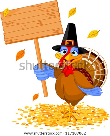 Illustration of a Thanksgiving turkey holding a blank board sign - stock vector
