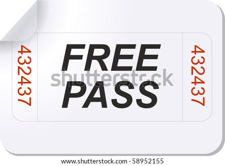 illustration of a ticket with free pass text - stock vector