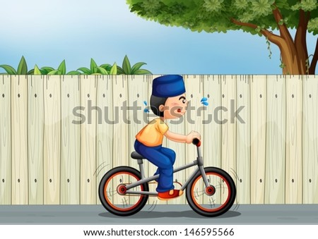 Illustration of a tired boy biking - stock vector