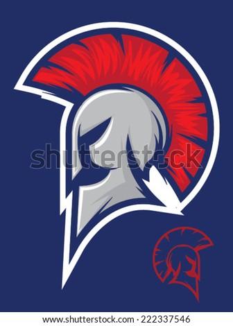 Illustration of a titan or spartan helmet icon/Vector Roman Warrior Mascot - stock vector