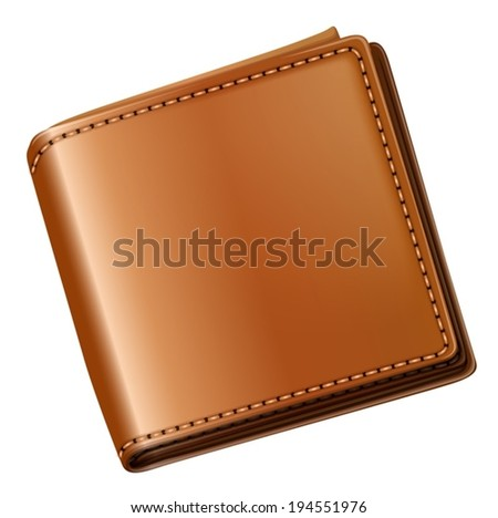 Illustration of a topview of a brown wallet on a white background