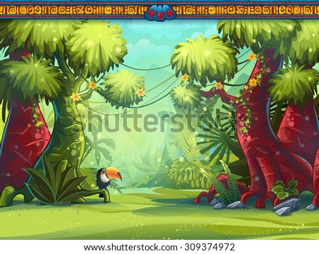 Illustration of a toucan jungle and Mayan writing - stock vector