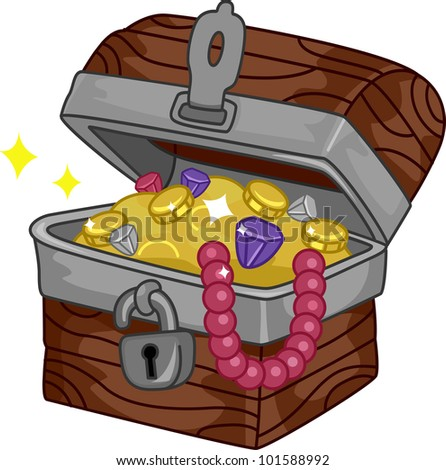 Illustration of a Treasure Chest Full of Goodies - stock vector