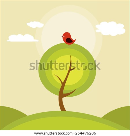 Illustration of a tree and a bird - stock vector
