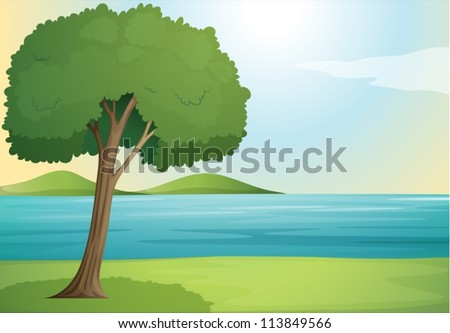 illustration of a tree and river in a beautiful nature - stock vector