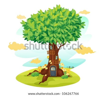 illustration of a tree house on a blue background - stock vector