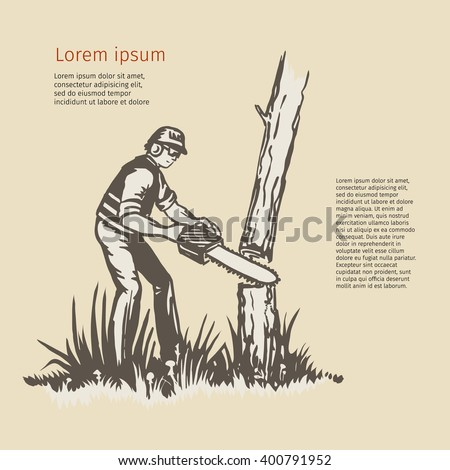 Illustration of a tree surgeon arborist trimmer pruner cutting with chainsaw done in retro style. Eps-8 - stock vector