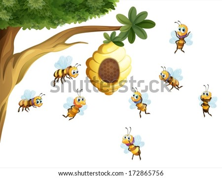 Illustration of a tree with a beehive surrounded by bees on a white background - stock vector