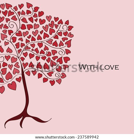 "Illustration of a tree with red hearts instead leafs with text ""with love"" on pink background"