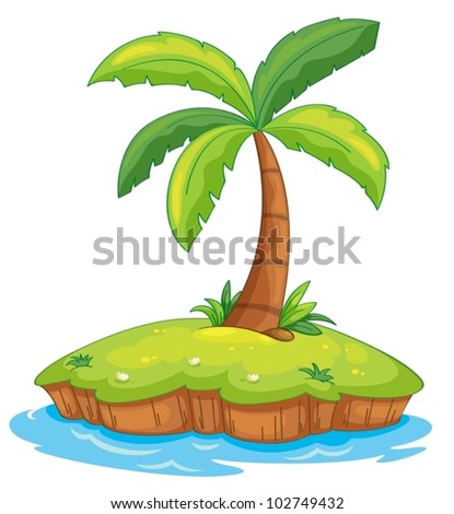 Illustration of a tropcial island on white - stock vector
