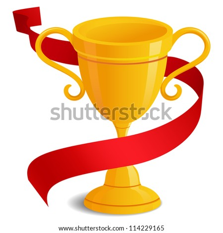 Illustration Trophy Golden Gradients Red Ribbon Stock Vector ...