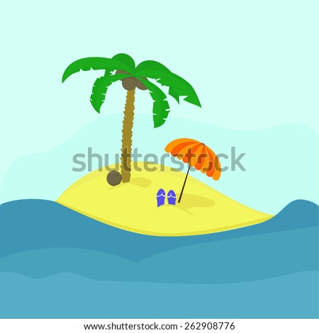 Illustration of a tropic island with coconut tree and things of a traveler.