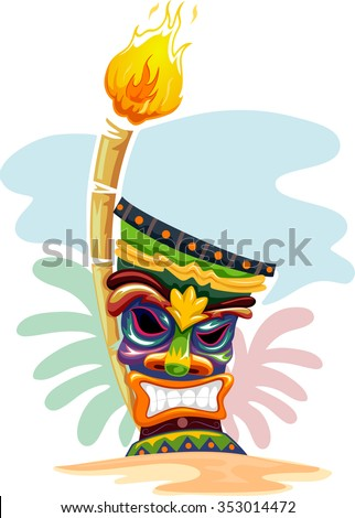 Illustration of a Tropical Island Decorated with a Tiki Torch and a Tiki Mask - stock vector