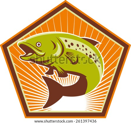 Illustration of a trout fish jumping with sunburst in background set inside hexagon done in retro style. - stock vector
