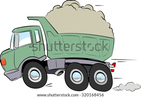 Illustration of a Truck in full speed open with debris