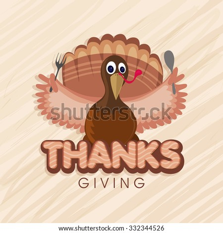 Illustration of a Turkey Bird holding spoon and fork for Happy Thanksgiving Day celebration. - stock vector