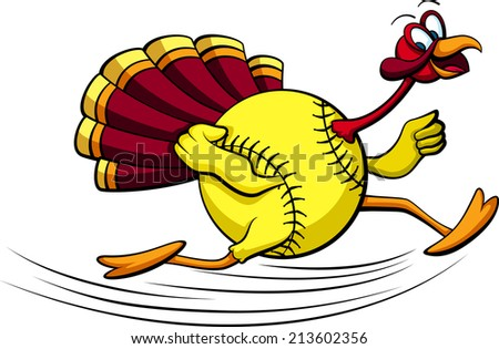 illustration of a turkey running with a  softball for his body. - stock vector