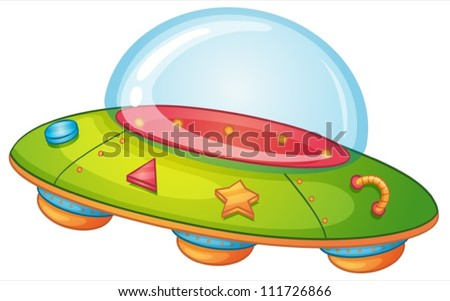 Illustration of a UFO on white - stock vector