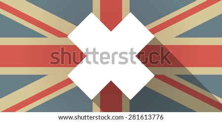 Illustration of a UK flag icon with an irritating substance sign - stock vector