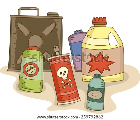 Illustration of a Variety of Pesticides in Different Containers - stock vector
