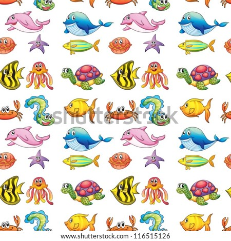 illustration of a various sea animals on a white background - stock vector