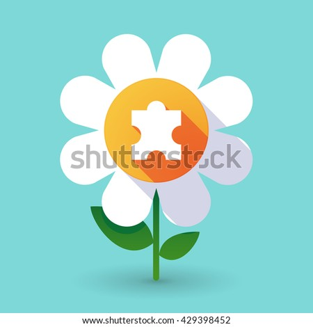 Illustration of a  vector flower with a puzzle piece - stock vector