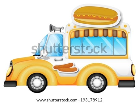 Illustration of a vehicle selling buns and hotdogs on a white background - stock vector