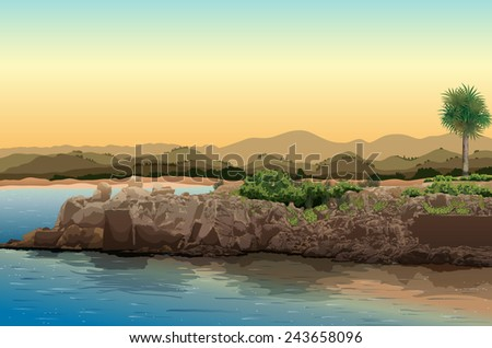 Illustration of a view of an ocean - stock vector