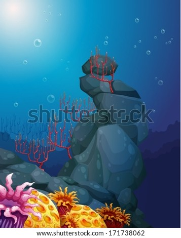 Illustration of a view of the underworld with rocks and coral reefs - stock vector