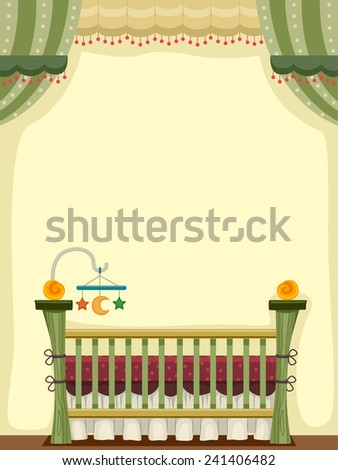 Illustration of a Vintage Crib Decorated With Baby Toys - stock vector