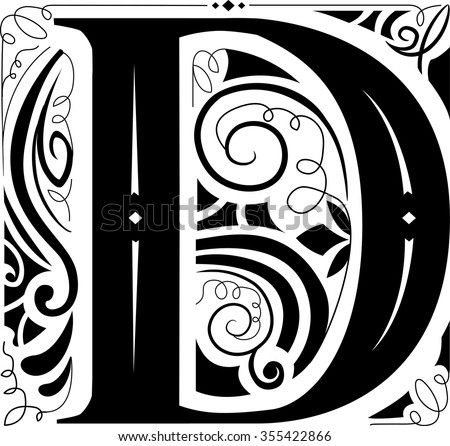 Illustration of a Vintage Monogram Featuring the Letter D - stock vector