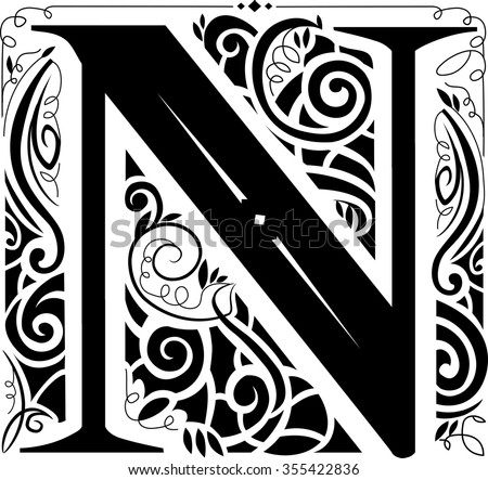 illustration of a vintage monogram featuring the letter n