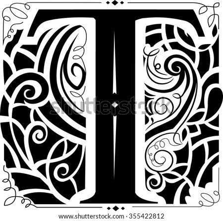 Illustration of a Vintage Monogram Featuring the Letter T - stock vector
