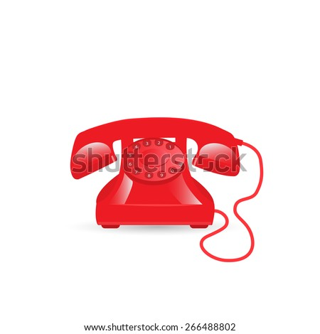 Illustration of a vintage phone isolated on a white background. - stock vector