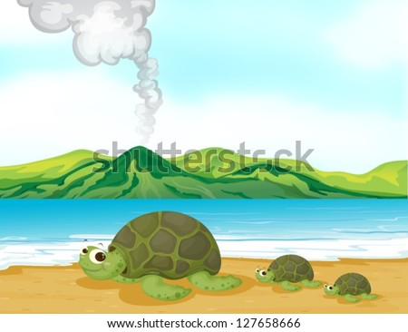 Illustration of a volcano beach and turtles - stock vector