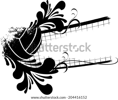 illustration of a volleyball and net with a splashy flourish.  - stock vector