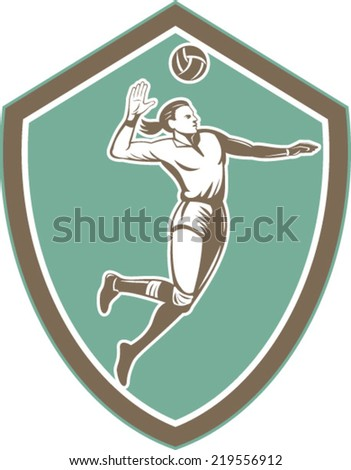 Illustration of a volleyball player spiker jumping spiking hitting ball set inside crest shield on isolated background done in retro style.