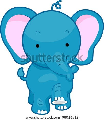 Illustration of a Walking Elephant - stock vector
