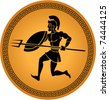 illustration of a warrior in a greek ceramic - stock vector