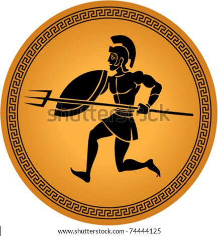 illustration of a warrior in a greek ceramic - stock vector