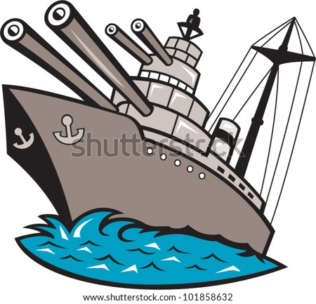 Illustration of a warship battleship boat ship with big guns viewed from a low angle cartoon style. - stock vector