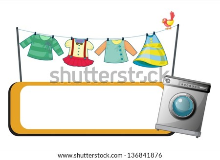 Illustration Of A Washing Machine With An Empty Signage And Hanging Clothes At The Back On