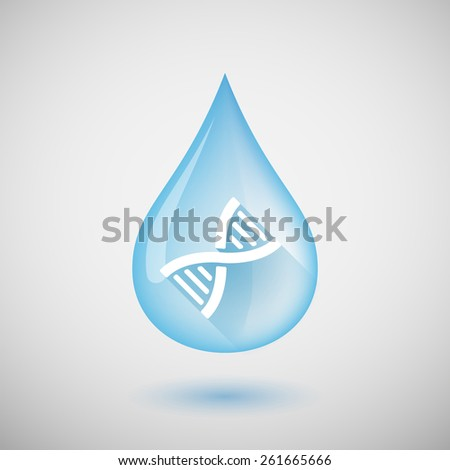 Illustration of a water drop with a DNA sign - stock vector