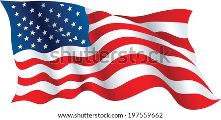 Illustration of a waving flag of the United States of America. - stock vector