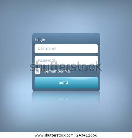 Illustration of a web login panel with button isolated on a blue background. Member login template. - stock vector