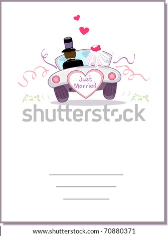 Illustration of a Wedding Car Driving Away - stock vector