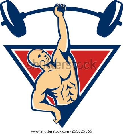 Illustration of a weightlifter bodybuilder lifting weights barbell with one hand set inside triangle done in retro style. - stock vector