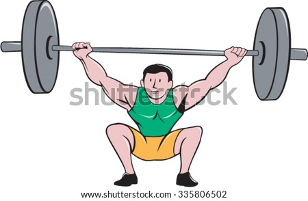 Illustration of a weightlifter deadlift lifting weights viewed from front set on isolated white background done in cartoon style. - stock vector