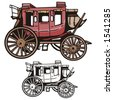 Illustration of a western stage coach. - stock photo
